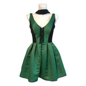 Abito ballerina nero e verde - Boutique Viggiani - Abbigliamento donna casual e cerimonia a Pisticci
