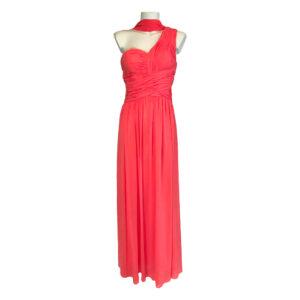 Abito lungo monospalla corallo - Boutique Viggiani - Abbigliamento donna casual e cerimonia a Pisticci