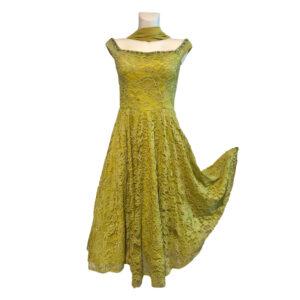 Abito in pizzo modello anni '60 verde lime - Boutique Viggiani - Abbigliamento donna casual e cerimonia a Pisticci