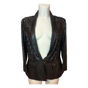 Giacca in ecopelle traforata nera - Boutique Viggiani - Abbigliamento donna casual e cerimonia a Pisticci