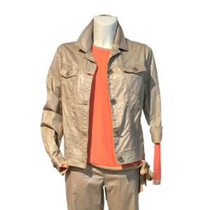 Giubbotto modello denim tessuto jacquard beige e platino - Boutique Viggiani - Abbigliamento donna casual e cerimonia a Pisticci