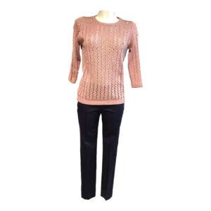Maglia in filo traforata rosa cipria - Boutique Viggiani - Abbigliamento donna casual e cerimonia a Pisticci