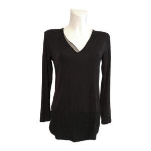 Maglia nera in doppio tessuto - Boutique Viggiani - Abbigliamento donna casual e cerimonia a Pisticci