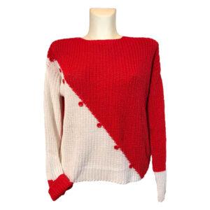 Maglia in filo di cotone corallo e bianco - Boutique Viggiani - Shopping online - Abbigliamento donna casual e cerimonia a Pisticci
