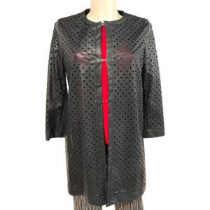 Soprabito in ecopelle traforata blu - Boutique Viggiani - Abbigliamento donna casual e cerimonia a Pisticci