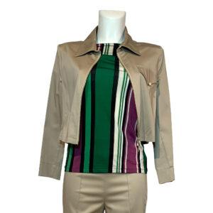 Giubbotto corto beige con zip - Boutique Viggiani - Shopping online - Abbigliamento donna casual e cerimonia a Pisticci