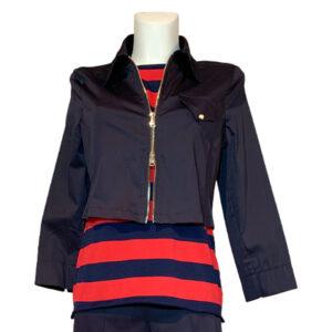 Giubbotto corto blu con zip - Boutique Viggiani - Shopping online - Abbigliamento donna casual e cerimonia a Pisticci