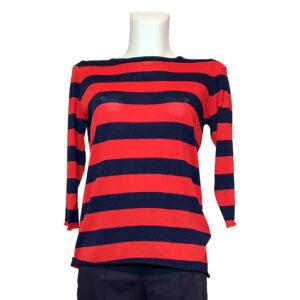Maglia a fasce blu e rosso - Boutique Viggiani - Shopping online - Abbigliamento donna casual e cerimonia a Pisticci