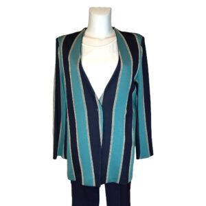 Giacca in punto maglia blu a righe - Boutique Viggiani - Abbigliamento donna casual e cerimonia a Pisticci