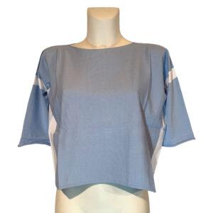 Maglia in filo celeste e bianca - Boutique Viggiani - Abbigliamento donna casual e cerimonia a Pisticci
