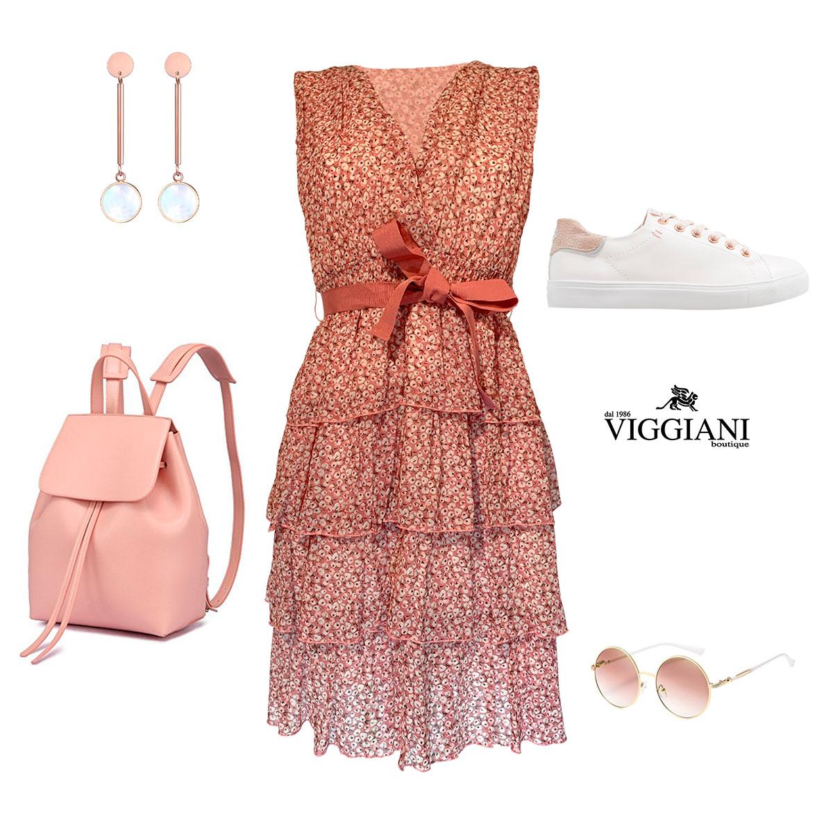 Outfit romantico Abito a balze a fantasia floreale - Boutique Viggiani - Shopping online - Abbigliamento donna casual e cerimonia a Pisticci