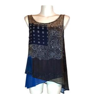 Top a fantasia blu - Boutique Viggiani - Abbigliamento donna casual e cerimonia a Pisticci