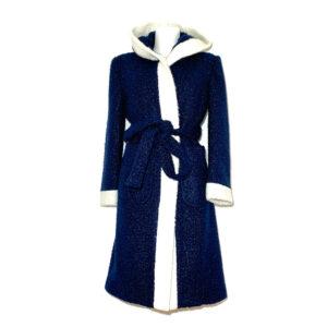 Cappotto vestaglia in bouclé blu - Boutique Viggiani - Shopping online - Abbigliamento donna casual e cerimonia a Pisticci