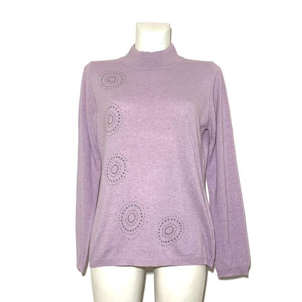 Maglia a lupeto rosa con applicazioni - Boutique Viggiani - Shopping online - Abbigliamento donna casual e cerimonia a Pisticci