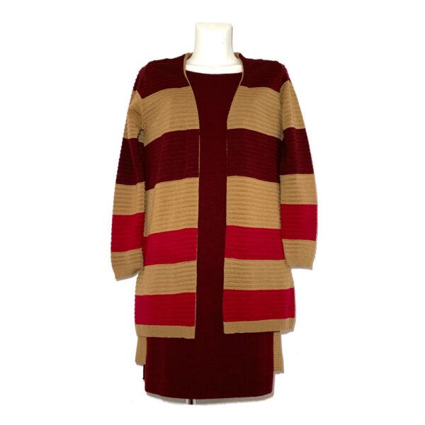 Cardigan a fasce bordeaux, cammello e rosso - Boutique Viggiani - Shopping online - Abbigliamento donna casual e cerimonia a Pisticci