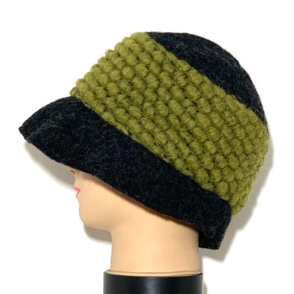 Cappello a cloche grigio con fascia verde acido - Boutique Viggiani - Shopping online - Abbigliamento donna casual e cerimonia a Pisticci
