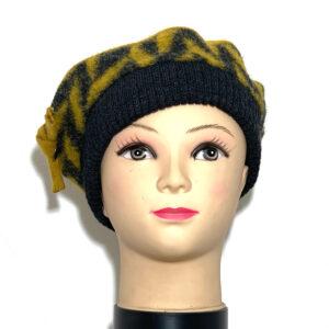 Cappello basco giallo senape e grigio - Boutique Viggiani - Shopping online - Abbigliamento donna casual e cerimonia a Pisticci